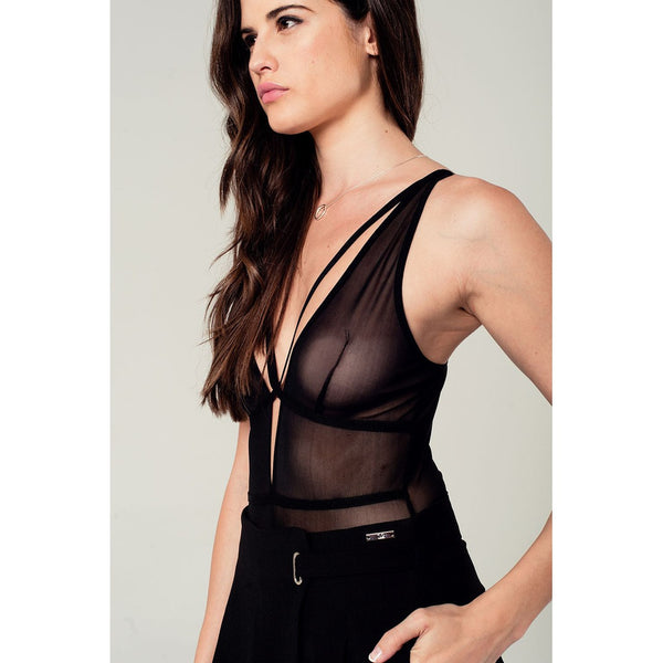 Strappy Mesh Detail Bodysuit In Black
