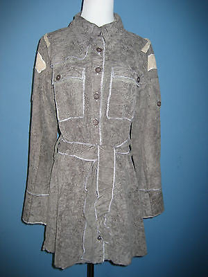 Stunning Designer Crinkle Cord Military Style Duster Coat L - ruby & sofia