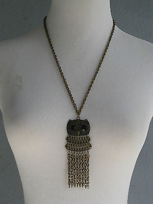 Retro Owl Pendant Necklace Bronze Patina