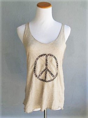 Made in Italy 'Peace' Sign Wool Racer-back Tank