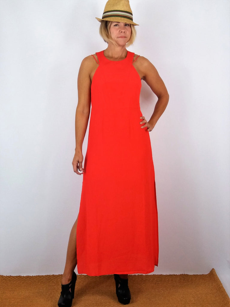 Dance & Marvel Strappy Coral Slit Maxi Dress S/M NWT