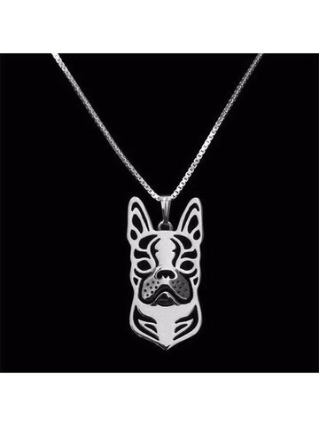 Boston Terrier Dimensional Silver Plated Necklace - Proceeds go to Animal rescue