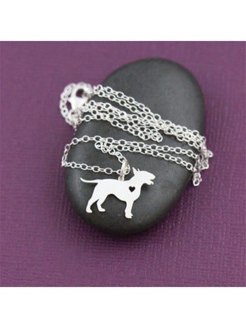 Bull Terrier w/Heart Silver Plated Necklace - Proceeds go to Pit Bull rescue