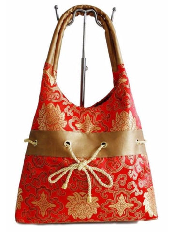 Red & Gold Chinese Silky Brocade Purse