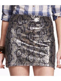 Express Sequin Snakeskin Print Skirt