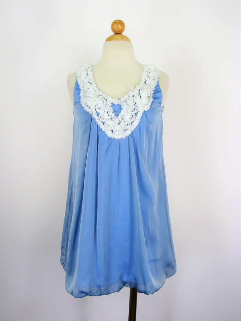Un Deux Trois Baby Blue Chiffon Bubble Party Dress 5