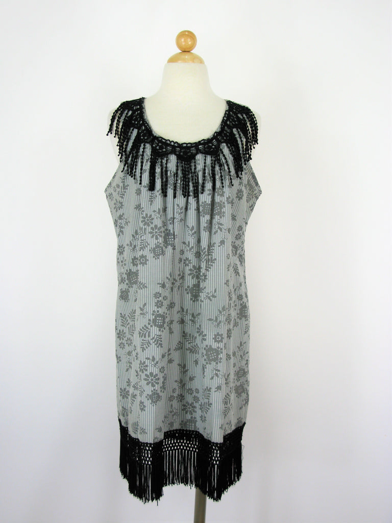 Moon Collection Floral Printed Fringe Tunic Shift Dress L