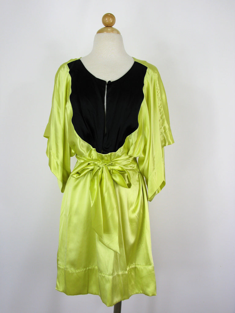 Natalie Anne Yellow & Black Silk Charmeuse Kimono Dress M