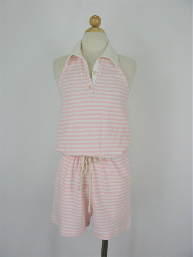 Tommy Hilfiger Pique Cotton Pink/White Stripe Halter Romper M