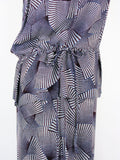 A.L.C Purple Anza Silk Georgette Fanprint Dress M