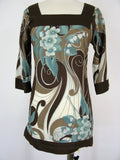 Tizzy Retro 60's Style Floral Print Tunic Top XS/S