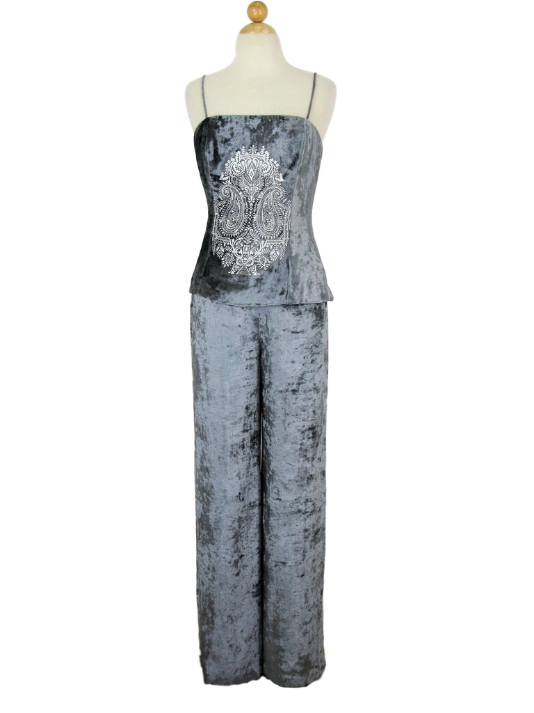 Donna Morgan Crushed Silver Velvet Palazzo Pants & Cami Set 4
