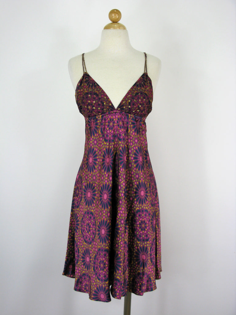 LaRok Silk 70's Style Disco Slip Dress S