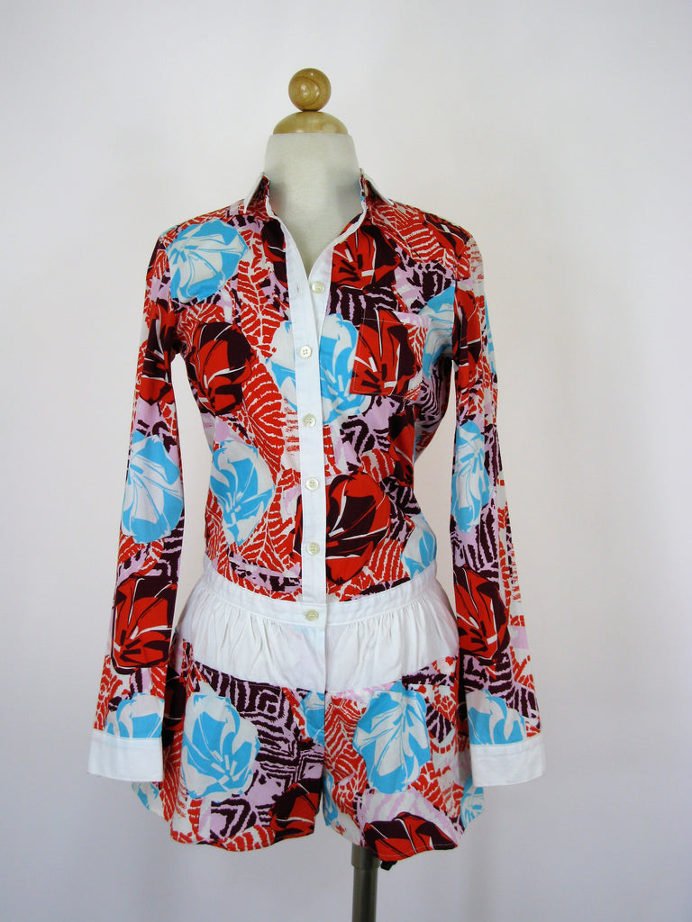 Thakoon Addition Hawaiian-print Poplin Romper 0 NWT