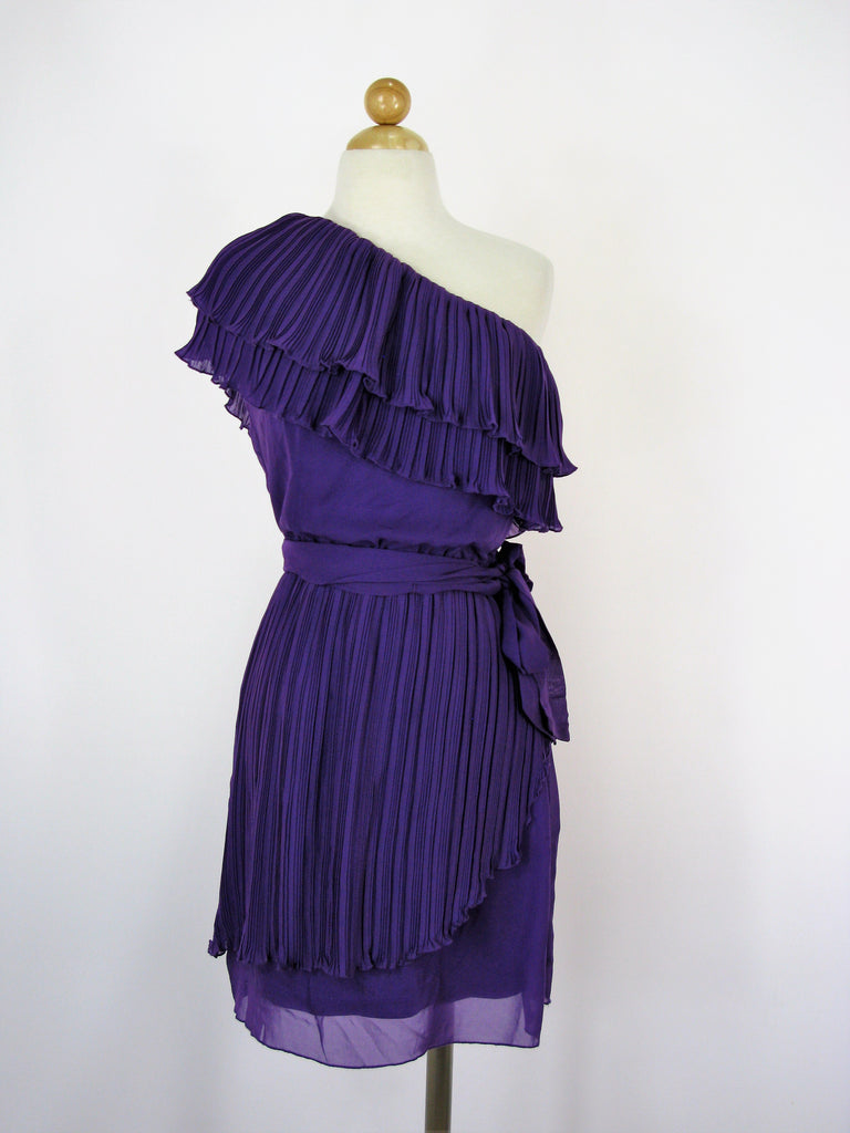 M60 Miss Sixty Dress One Shoulder Ruffled Chiffon Tiered Dress 6 NWT