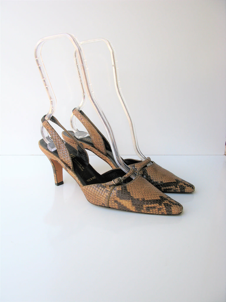 Amalfi For Nordstrom Italy Slingback Leather Snakeskin Print Pumps 6.5
