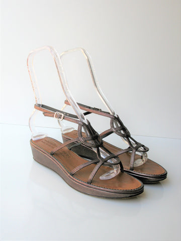 Donald J Pliner Bronzey Leather Gladiator Wedge Sandals - Made in Italy - 7