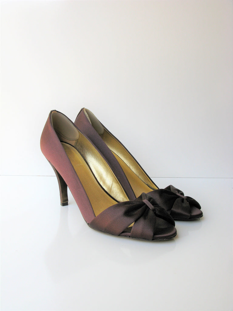 J Crew Brown 'Martina' Satin Peep Toe Bow Pumps 'Made in Italy' 9.5