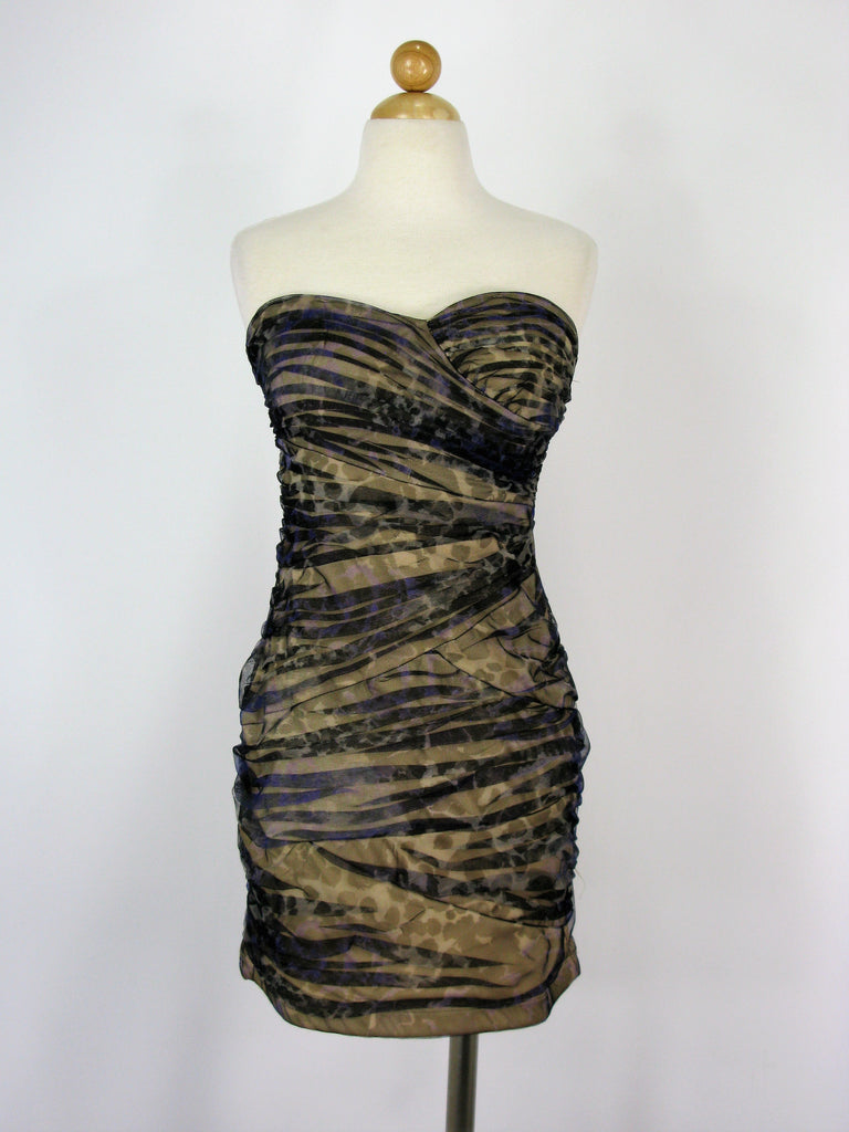 Love Tease Mesh Ruched Camouflage Cocktail Dress 7 NWOT