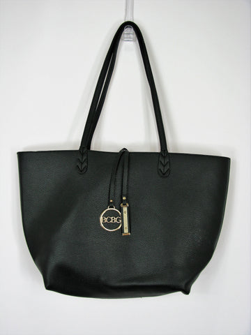 BCBG Reversibel Black & Cream Pebbled Tote
