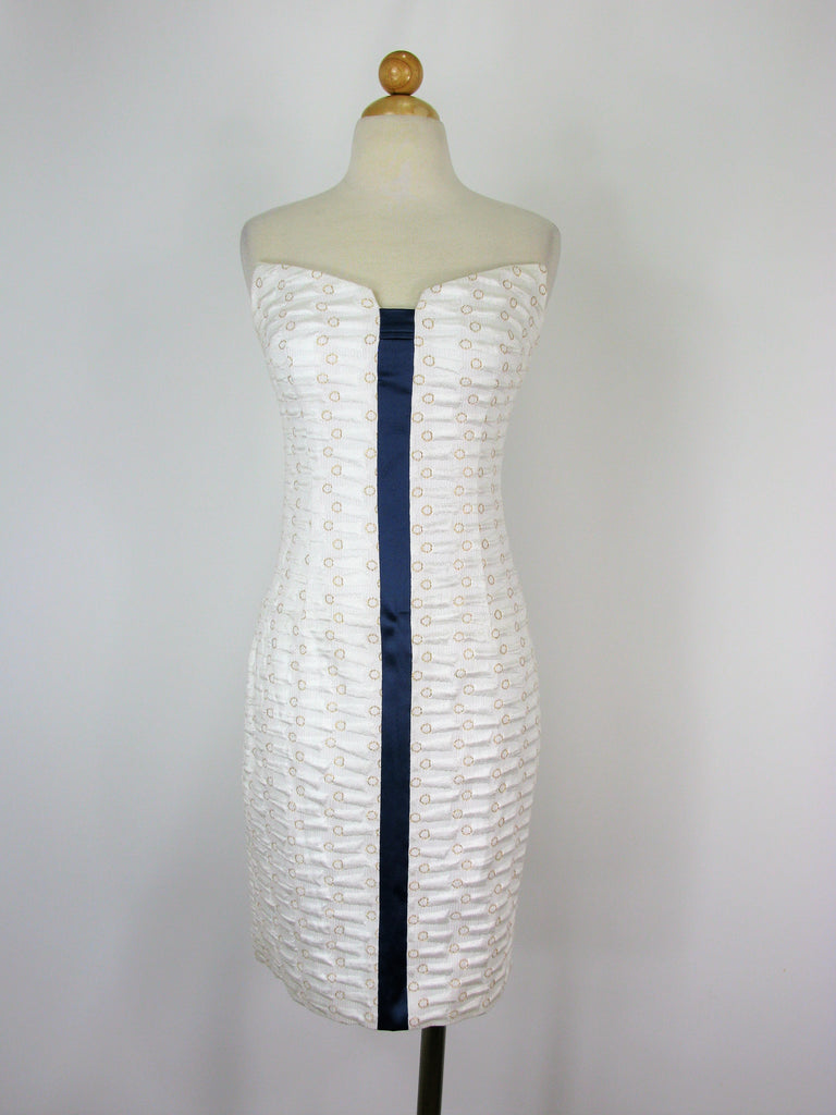 Designer White Jacquard Peaked Strapless Pencil Wiggle Dress 4 - Stunning!