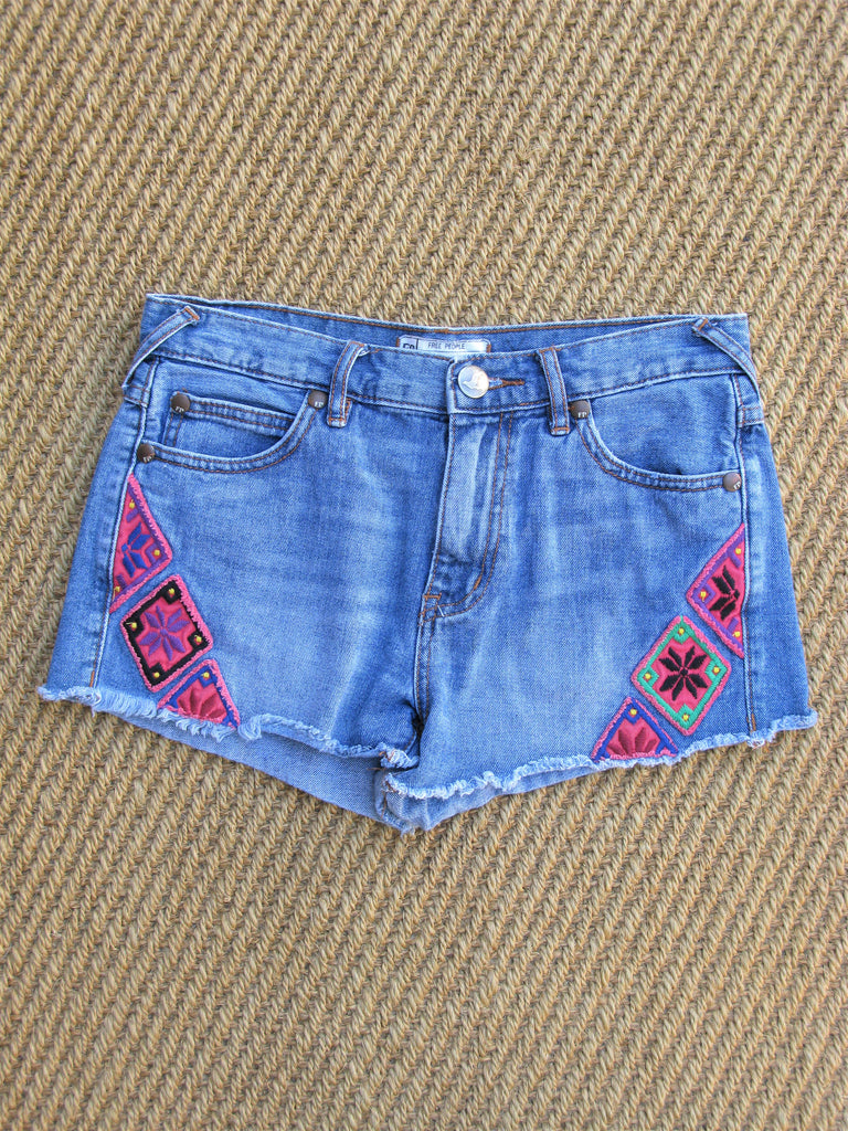 Free People Embroidered Denim Cut Offs 25