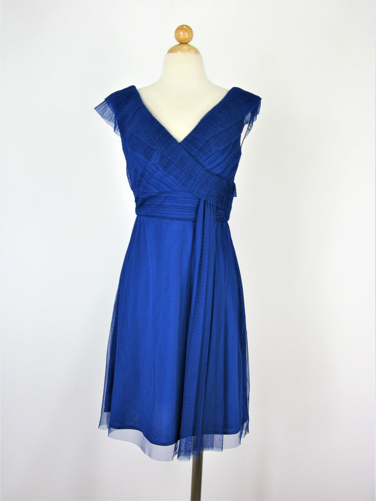 Patra Royal Blue Tiered and Draped Dress 6 NWOT