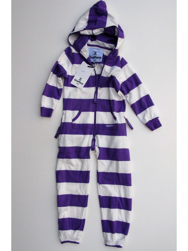 OnePiece of Norway Original Stripe Kids Jumpsuit Purple/White 6/7 122 NWT