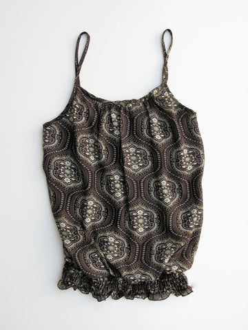 THX Thanx Collection Medallion Print Blouson Tank Camisole S/P