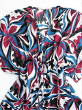 Bisou Bisou Sheer Psychedelic Split Front Tunic Top S/M - ruby & sofia