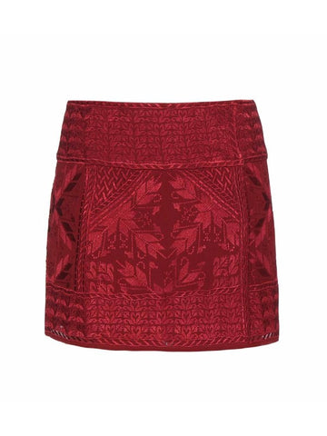 Isabel Marant Burgundy Andy Embroidered Silk-Georgette Wrap Mini Skirt 38 4/6 NWT