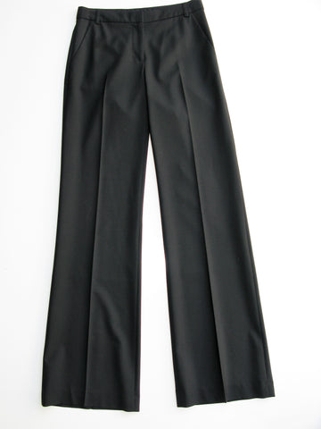 Burberry Black Stretch Wool Wide Leg Trousers It 42 NWOT