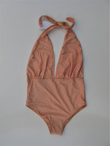 American Apparel The Nylon Tricot Plunging Halter One-Piece Swimsuit M NWOT