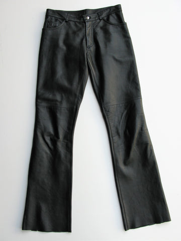 Bebe Split Hem Black Leather Moto Pants 6 -- MInt!