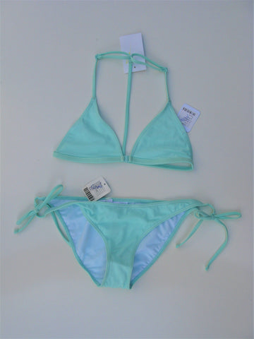 Out From Under Triangle Racer-back String Bikini Top & Bottoms S/M NWT