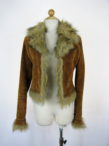 Bebe Suede & Faux Fur Studded Shorty Moto Bomber Jacket S