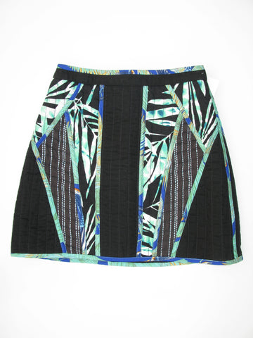 BCBG Max Azria 'Andrick' Quilted Palms Print Blocked Mini Skirt 00