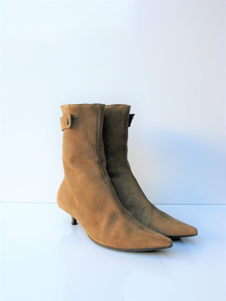 Vintage Max Monelli Suede Mod 60's Style Pointed Toe Booties 6.5