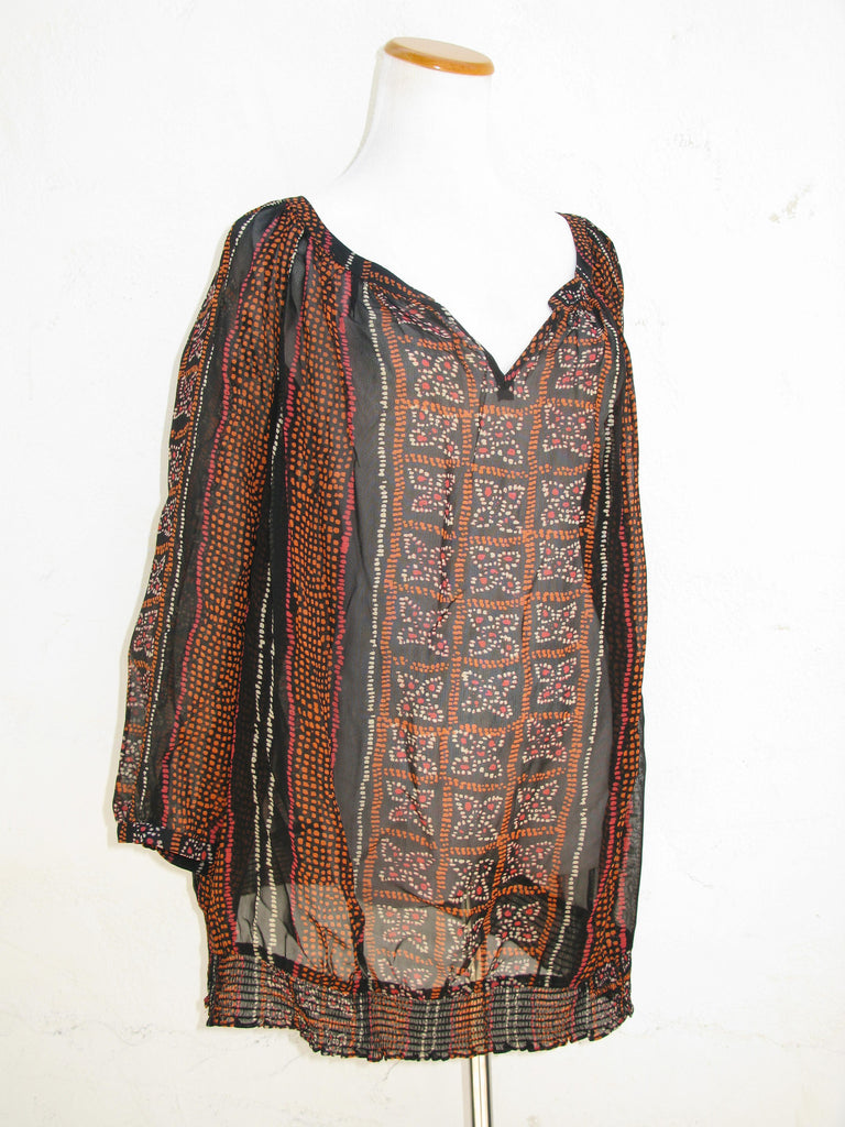 Lucky Brand Sheer Printed Blouse 2X - ruby & sofia
