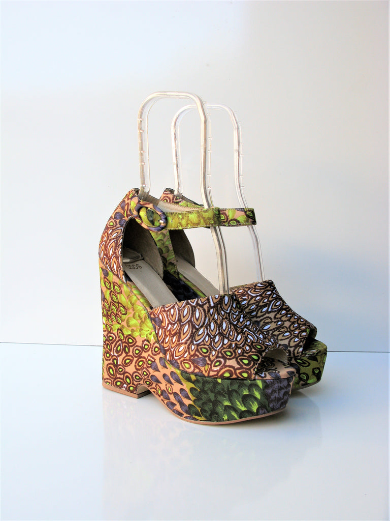 ASOS 'Hamilton' Peacock Print Wedges UK5 / US7 NWOB - Rare!