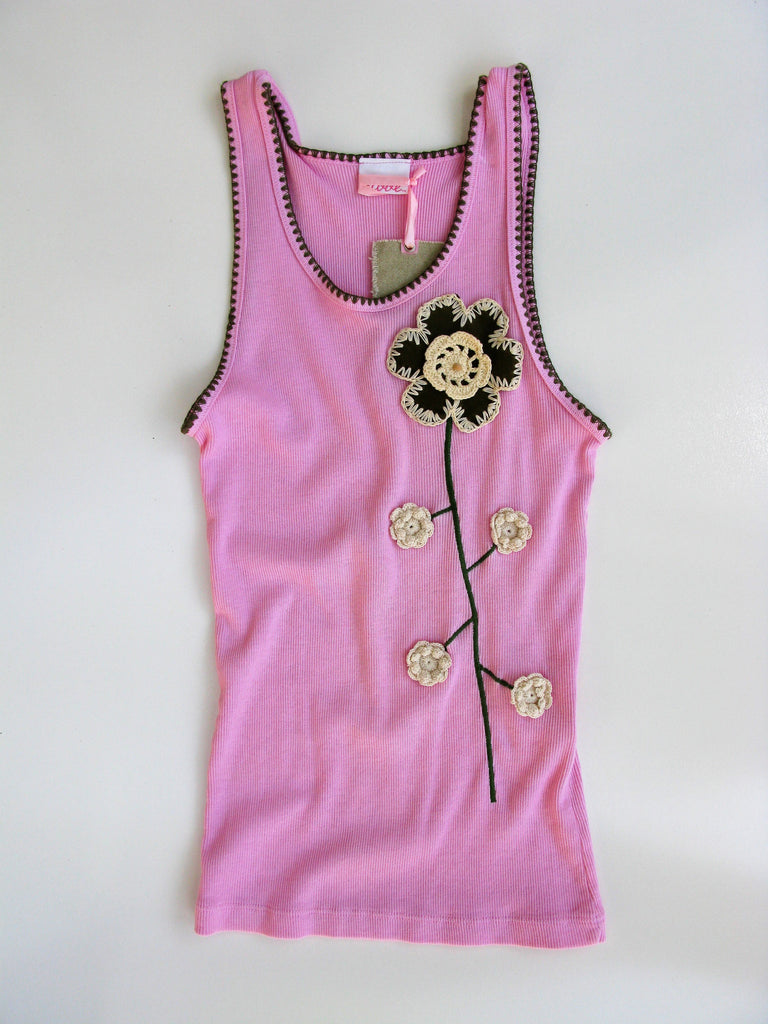 2Love Pink Ribbed Embroidered Tank M NWT