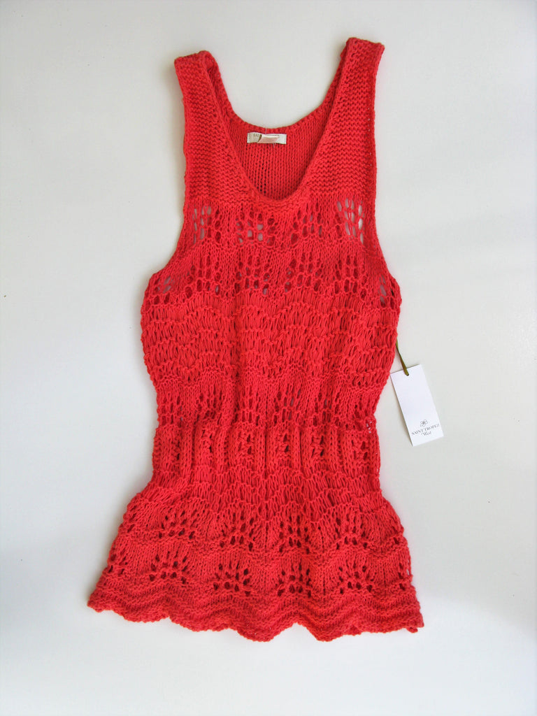 St Tropez West Open Knit Tunic Tank S NWT