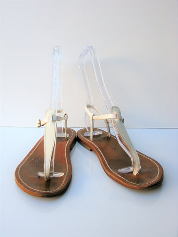 K. Jacques Petrone Patent Leather Sliding Thong Sandal 38