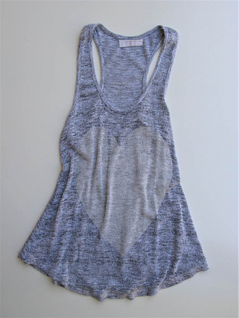"The Classic ""Heart U"" Silver Grey Knit Tank M"