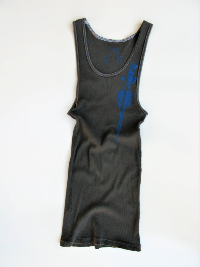 Hard 8 ' Dagger thru the Heart' Long Ribbed Tank Top S