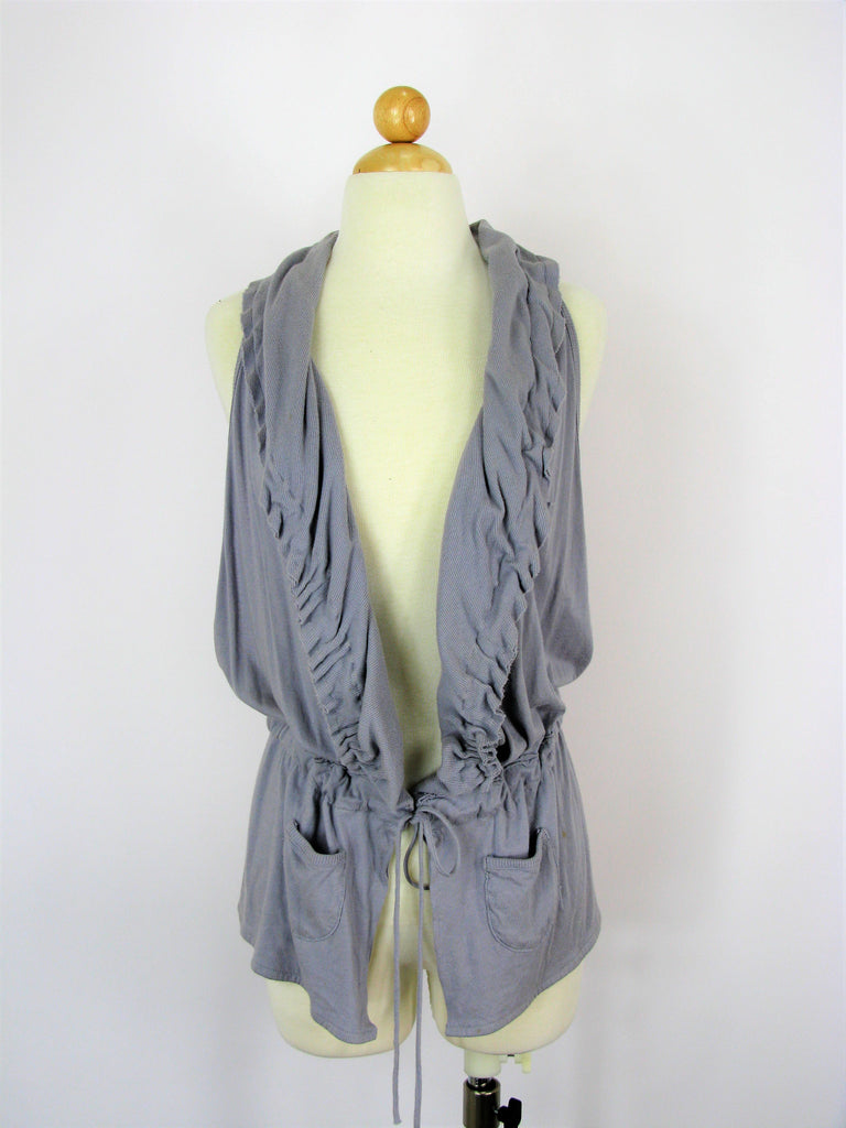 Saturday Sunday Sleeveless Draped Ruffled Cardigan Vest S