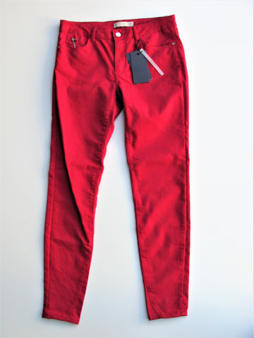 Zara Z1975 Denim Cherry Red Skinny Ankle Jeans 8 NWT