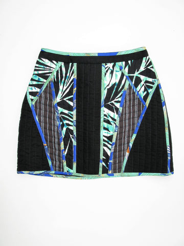 BCBG Max Azria 'Andrick' Quilted Palms Print Blocked Mini Skirt 0 NWT