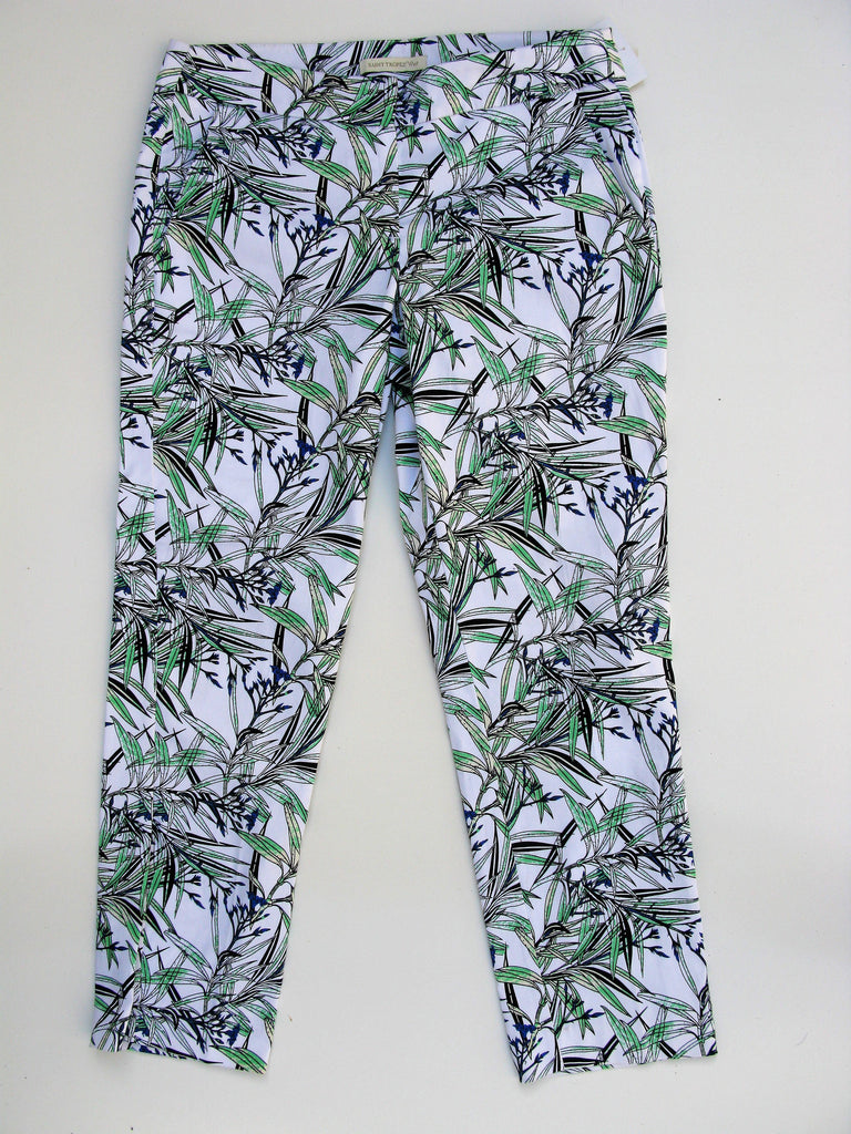 Saint Tropez West Leaf Print Capri Pants 4 NWOT