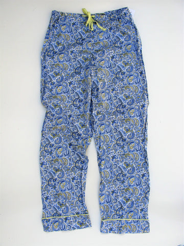 Bead Head Blue & Yellow Paisley Cotton Pajama Bottoms S/M NWOT